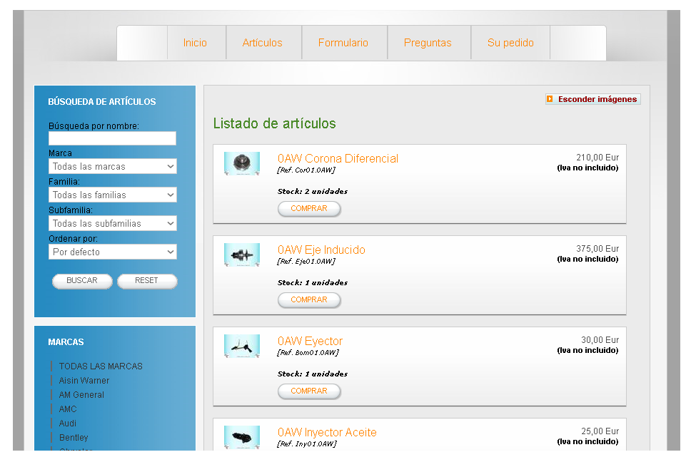 Captura de pantalla de la página web de recambios usados (Automatic Transmission cores)